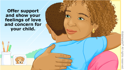 Offer support and show your feelings of love and concern for your child like giving them a hug.