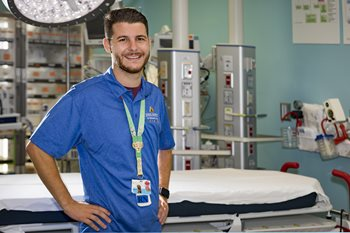 Matthew Bailey, R.N., a nurse in the Johns Hopkins All Children's Emergency Center