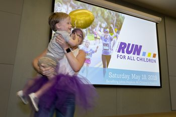Megan and her son, Eli, make a tutu to support the Johns Hopkins All Children's Maternal, Fetal & Neonatal Institute in the annual Run for All Children.