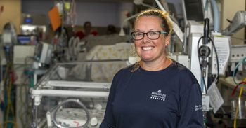 Courtney Ward, R.N., a clinical nurse in the Neonatal Intensive Care Unit at Johns Hopkins All Children's