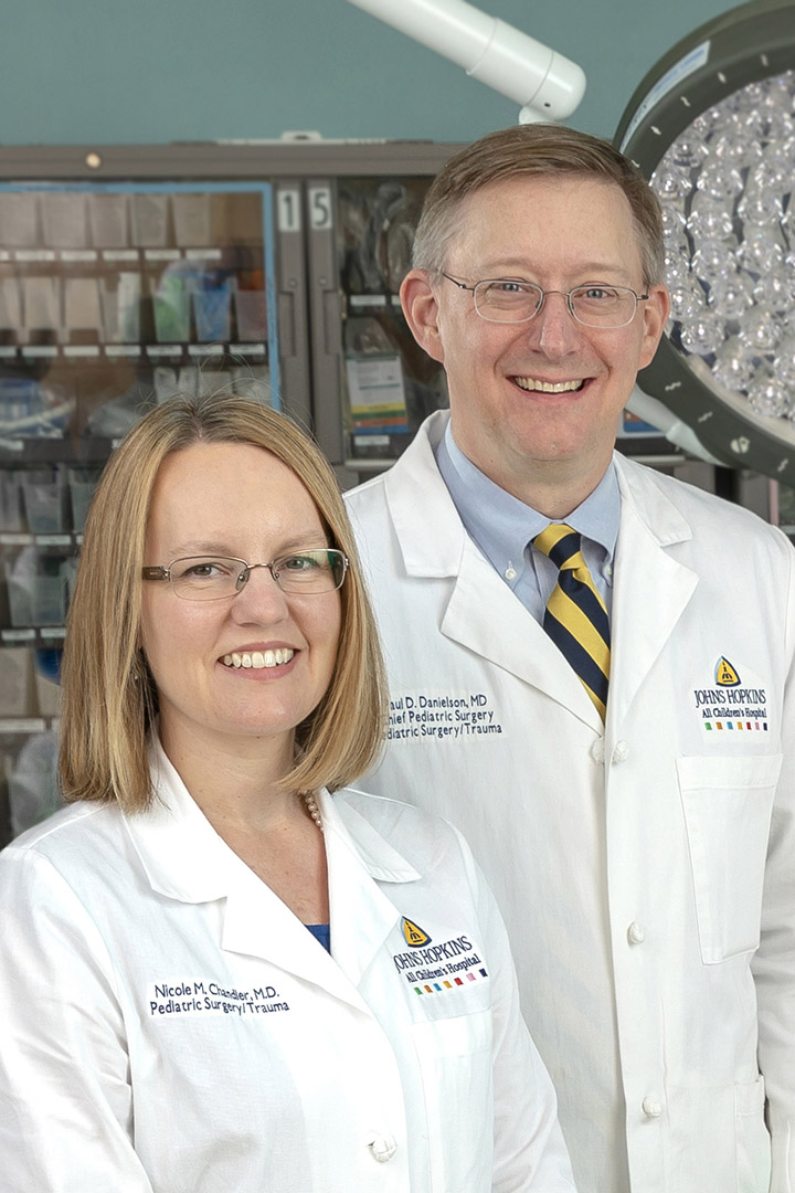 Nicole Chandler, M.D., director of pediatric surgery research and Paul Danielson, M.D., chief of the division of pediatric surgery at Johns Hopkins All Children's Hospital