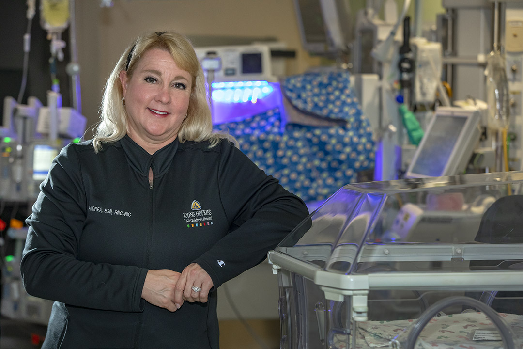 Andrea Cabacungan, R.N., a clinical nurse in the Neonatal Intensive Care Unit at Johns Hopkins All Children's Hospital