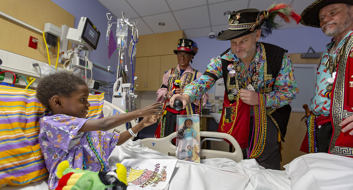 The pirates of Ye Mystic Krewe of Gasparilla visited Johns Hopkins All Children's