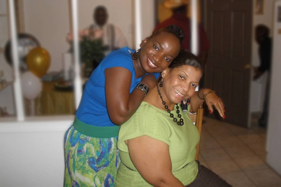 The photo shows Ebony Hunter, M.D., an emergency medicine physician at Johns Hopkins All Children's, with her mother Gloria.