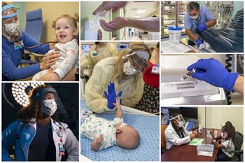 The image illustrates some of the ways care providers keep patients safe at Johns Hopkins All Children's.